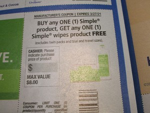 15 Coupons Buy 1 Simple Product Get 1 FREE Wipes 3/27/2021