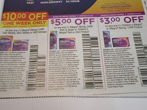 15 Coupons $10/1 Allegra Allergy 24HR 70ct or 90ct Tablets or 60ct Gelcaps 4/17/2021 + $5/1 Allegra 24ct + $3/1 Childrens Allegra 5/1/2021