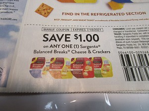 15 Coupons $1/1 Sargento Balanced Breaks Cheese & Crackers 7/18/2021